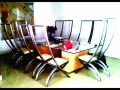 Stainless Steel, Glass & Maple Wood Dinning Room Set, Featuring Cable Backed Chairs